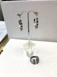 JIV 7 - Silver pebble adjustable ring and earrings
